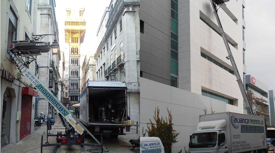 Mudanças em Lisboa com elevador exterior